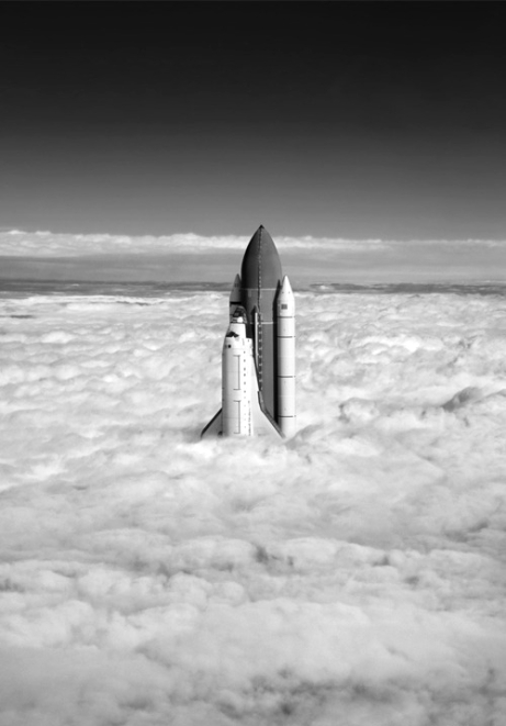 space shuttle nasa air space clouds sky sun flying rocket black and white photography photo amazing montage image