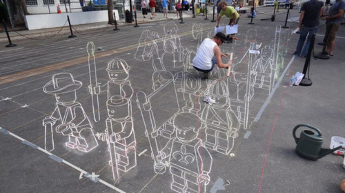 3D Lego Chalk-painting by peter westerink 3d drawing doodle on paper street 3d painting lego warriors 3d lego street pavement kunst art artistic 3d perspective