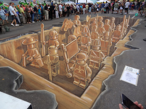 3D Lego Chalk painting by peter westerink.
