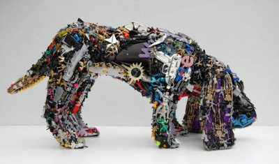 Recycled Toy Sculptures, by Robert Bradford art cool fun colorful pieces of plastics toys reused artist creative sculptures