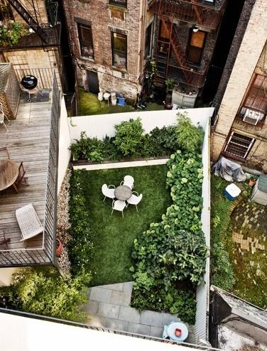 Mini Garden in New York backyard building courtyard green new york usa NY big apple gardening space architecture photo