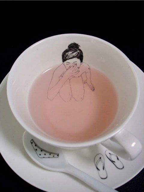girl naked cup drinking drawing