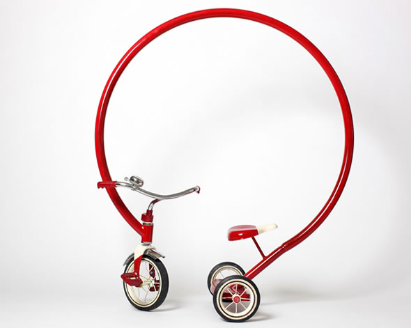 Innovative and funny red bicycle