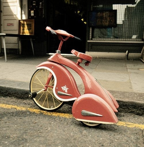 Funny and strange pink bicycle vintage bike design, cool