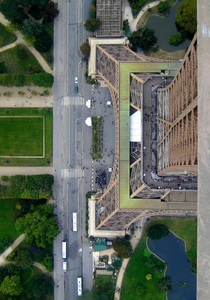 Photo of the Eiffel Tower in Paris, France interesting aerial perspective shot structure from above