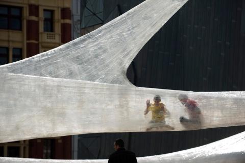 Spiderweb art installation in Melbourne, Australia exhibition architecture organic wire plastic fabric design cool trapped spider web