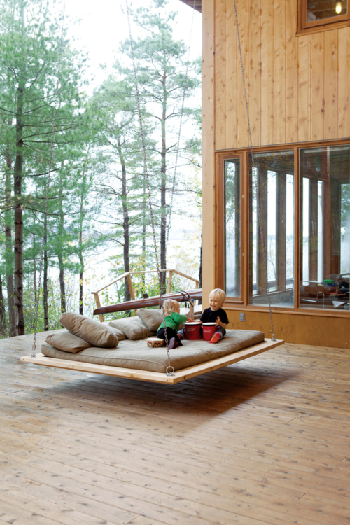 bed, swing, terrace, children, sleeping, home, house, outdoor, nature, architecture, photo, photography, design, floating bed, hanging bed