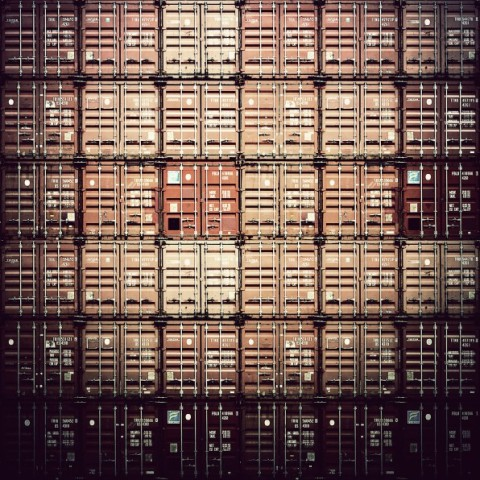 Photograph of stacked shipping containers, architecture, photo, strucutre, metal box, shipping, transport, logistics