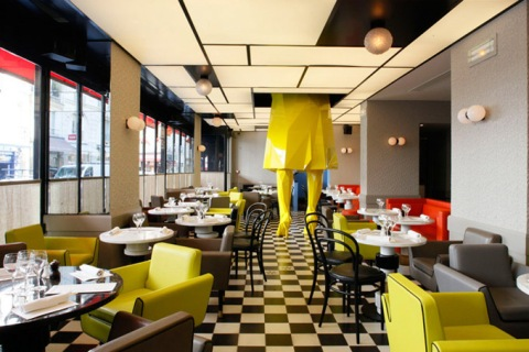 restaurant, paris, france, germain, sculpture, eating, yellow, woman