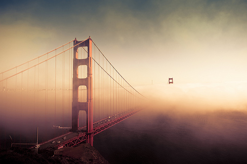 Photograph of the Golden Gate Bridge, San Francisco that has its 75th anniversary this week. USA californisa, architecture bridge, construction clouds photography