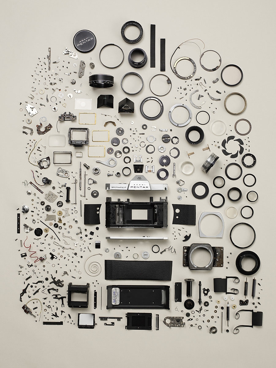camera, canon, nikon, photo, art, photography, pentax disassembled, pieces, bits, parts, technology, photo
