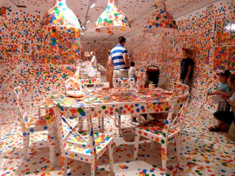 Obliteration Room by Yayoi Kusama, Queensland Gallery of Modern Art, installation dots stickers color white room children kids play interactive photo architecture design