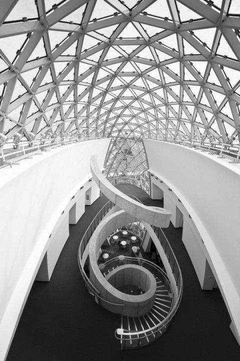 Salvador Dali Museum, St. Petersburg, Florida, USA, America black and white architecture photography atrium spiral staircase, glas grid structure roof