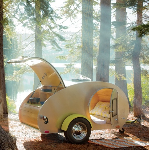bed, mobile, teardrop camper, van, camping, forest, photography, photo, design, travel