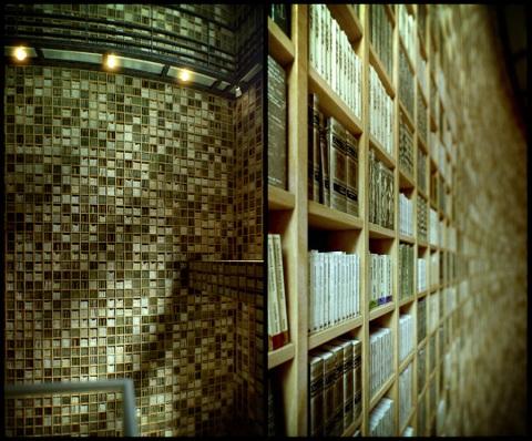 The Ryotaro Shiba Museum by Tadao Ando, photography, library, books, bookshelves, bookshelf, timber wood, japan