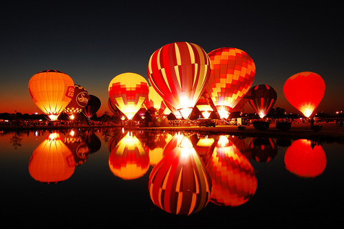 air balloons, lights, night, colour, photography, dark sky, balloon festival photography nevada usa