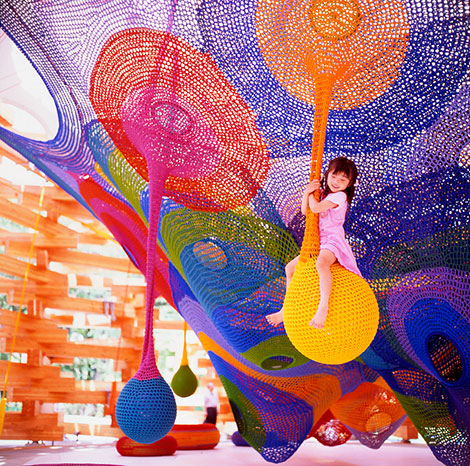 woods of net, net, wood, timber, architecture, playground, Tezuka Architects, japan