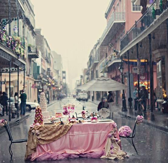 breakfast, table, street, rain, city, photography, pink, art, design, photo