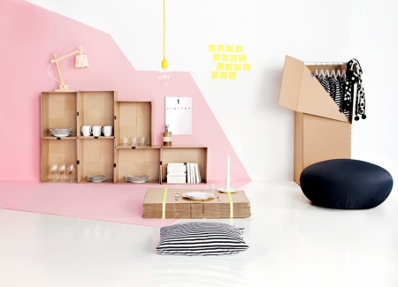 unpacking, design, furniture, cardboard, storage, interior, color