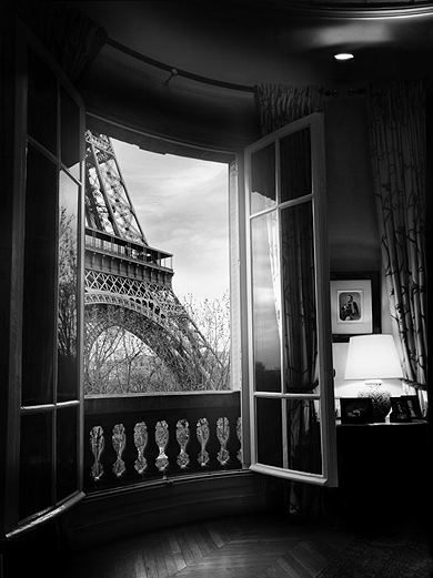 eiffel tower, paris, france, city, architecture, steel, window, view, black and white, photography