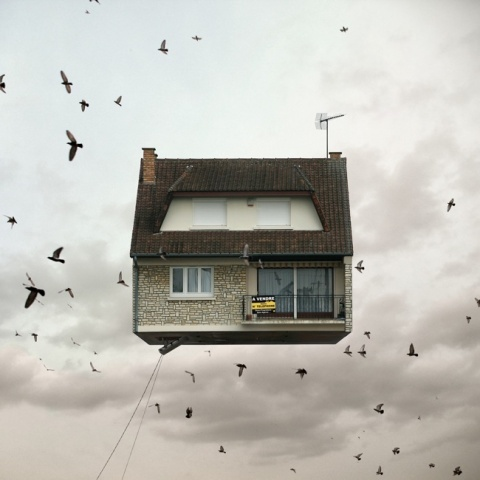 flying houses by Laurent Chéhère art architecture photography photo image sky building hovering house floating house kunst