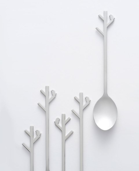 spooning Forest spoon cutlery design by Japanese designers Nendo innovative product design white cute cutlery logo design graphic
