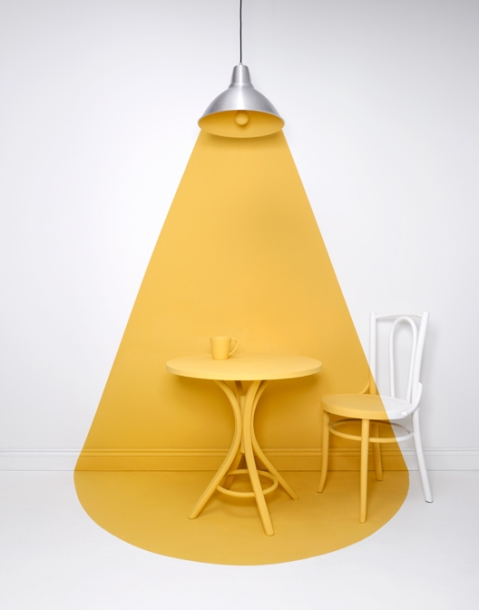 lamp black negative painted light project by photographer Alexander Kent art installation photography photo tumblr licht sun light yellow chair painting