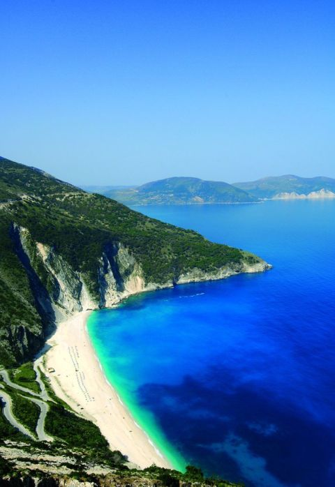 Myrtos Beach, Kefalonia, Greece sun beach ocean water holiday travel summer landscape mountain sand blue sky beautiful photography photo tumblr