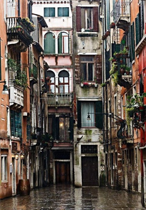 "Italy – Venice ""Calle dei Botteri architecture rain city urban houses windows medieval traditional buildings texture facades beautiful vintage photography photo photographer image tumblr flickr"