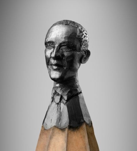 sharp mind led pencil head craft sculpture art miniture head face photography tumblr Ragna Reusch-Klinkenberg pencil head sculpture of  President Barack Obama united states of america