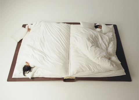 Photographer Yusuke Suzuki created a book bed that folds up during the day which then unfolds into an over-sized book at night. tumblr photography photo sleeping design innovative sleeping
