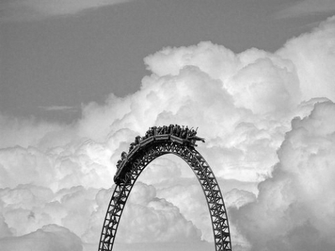 Roller coaster in the clouds park photography photo black and white sky Montaña rusa