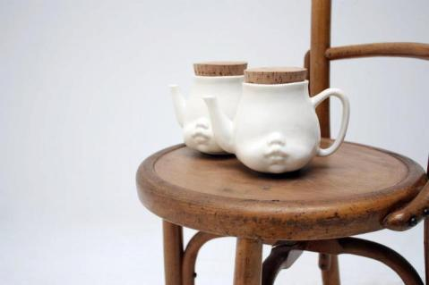 cup of tea tea pot design face baby innovative drinking tasse kanne tee