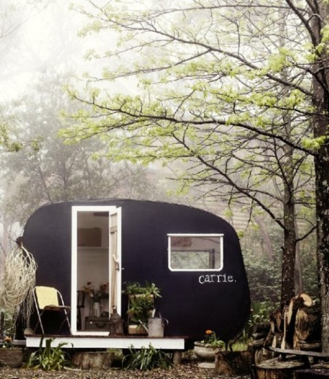 teardrop camper van in the woods chalkboard chalk retreatcamping isolated fortest beautiful cute van moving house wohnwagen outdoor living photography photo adventure nature