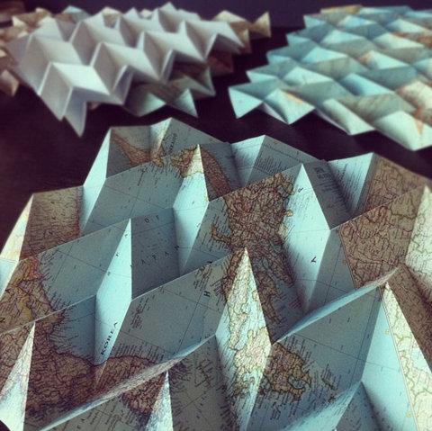 map folding folded map design road world art origami paper art graphic image photo trip travel