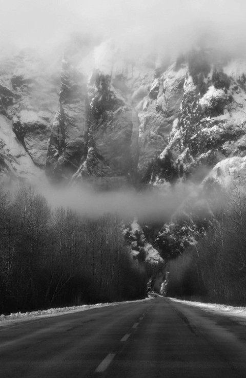 fog foggy landscape nature cloud mountain road forest photography photo image tumblr black and white photograph of a mountain driving travel