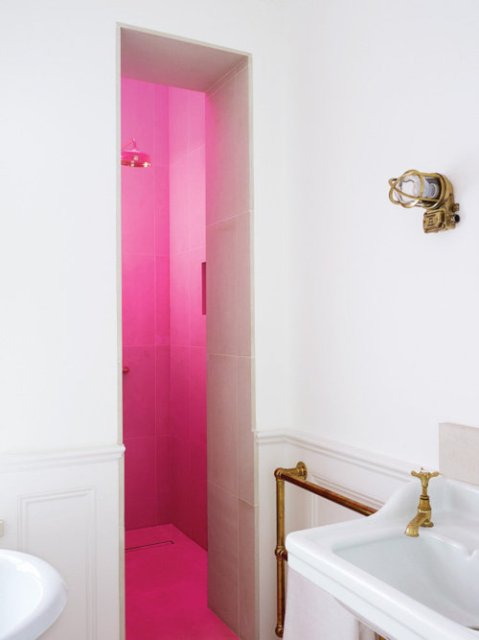 Shower / bathroom lighting design pink light lamps interior bathroom design modern materials furniture fittings style architecture photography photo fashionable unique