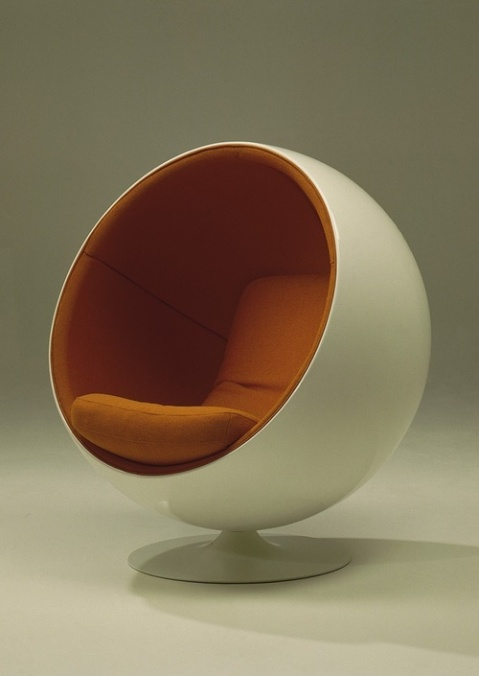 """Ball Chair"" or ""Globe Chair"", designed 1966 by Eero Aarnio vintage furniture design sphere chair, design, photo, photography, life, inspiration, chair, product design, orange, round, 70s, style, deco"