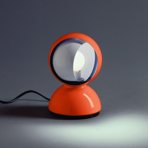 vintage round orange desk lamp light bulb cool design lighting interior decoration architecture photography photo