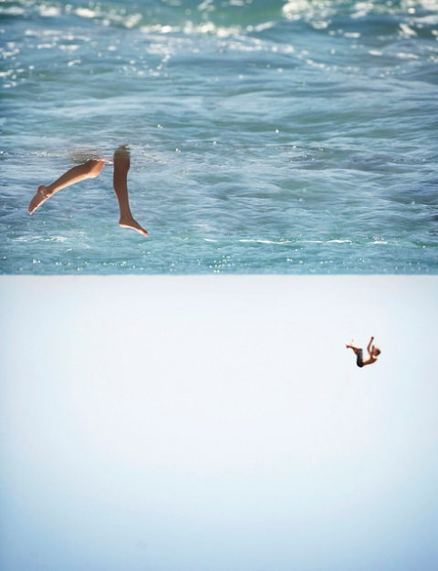 holiday water swimming ocean legs diving sea lage sky horizon photography funny weird illustion optical up side down water photography photo image