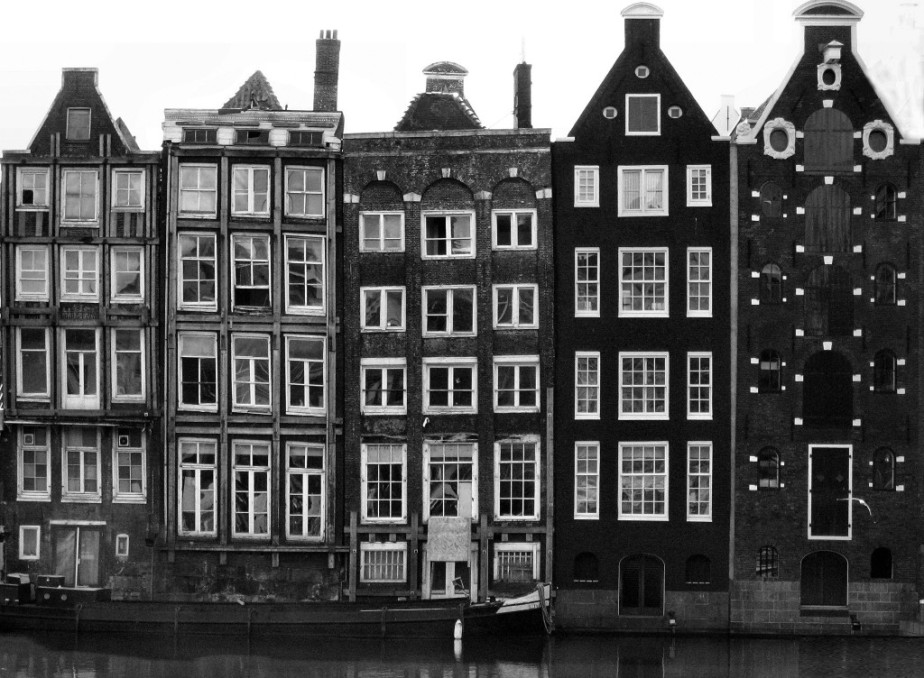 black and white photograph of typical houses of Amsterdam, Netherlands canal photography photo architecture windows facade facade dutch facade traditional