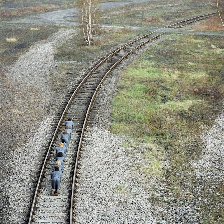 crawl crawling on train tracks art installation exhibition photography kunst photograph abstract modern performance