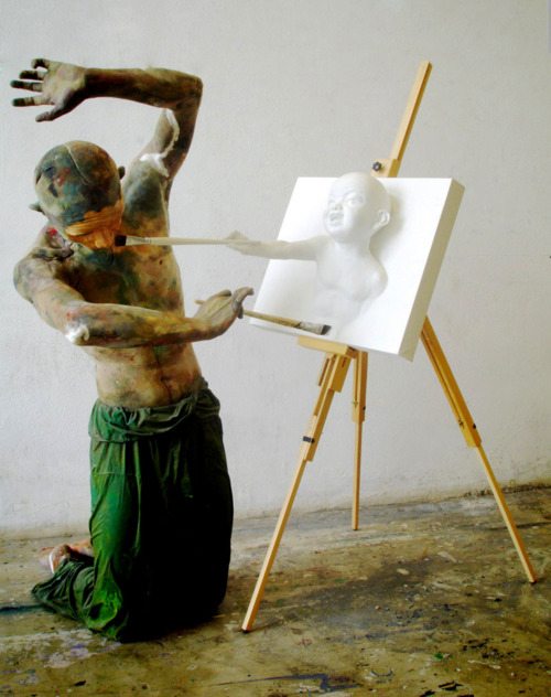 painting sculpture tease 3D white installation art creepy baby design brushes photo photography inspiration