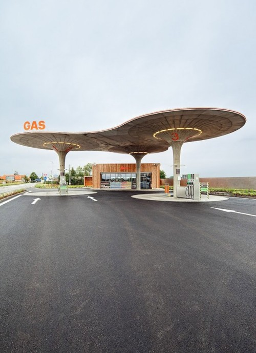 gas station organic roof recharge concrete architecture design photo photography circular roofs atelier SAD Slovakia destination travel