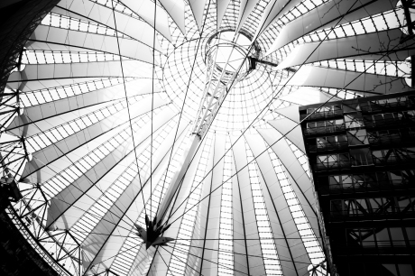 sony center berlin potsdamer platz architecture roof steel construction black and white photography