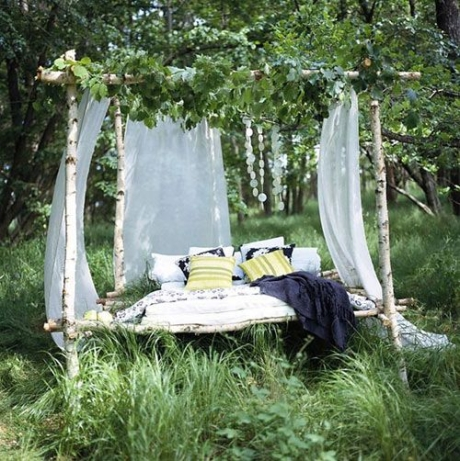 bed outdoors nature, green, design, countryside, photo, photography, landscape, sleeping forest romantic
