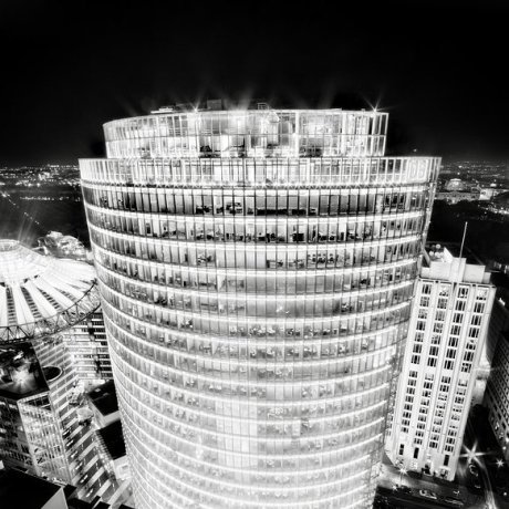 Ronny Behnert / db tower, Potsdamer Platz, Berlin black and white photograph rchitecture night photography light sky city skyline germany building at night glass photograph