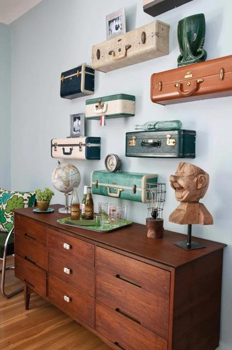 suitcases vintage design photography interior design shelves decoration architecture reused recycle innovative