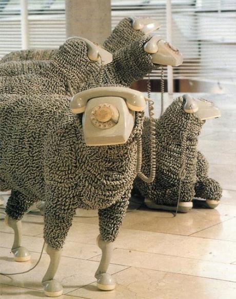 telephone sheep art sculpture installation exhibition funny cute sheeps vintage retro telephone telefon photoraphy photo art kunst austellung