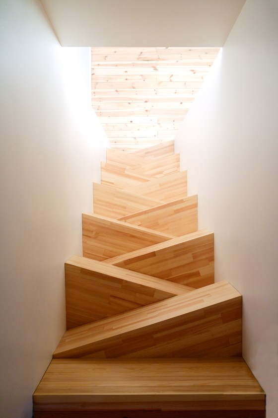 space saving steep timber staircase architecture interior design